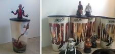 Deadpool and Star Wars Solo Movie Theater Exclusive Cups with Figure Toppers