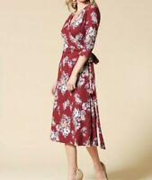NWT Midi Wrap Dress Burgundy Floral VNeck Stretch Size Small S Medium M Large L