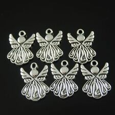 37118 Antique Style Silver Tone Alloy Cute Angel Wings Pendant Charm Hot 50pcs