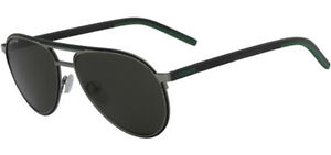 Lacoste Men's Shiny Gunmetal/Grey/Green Pilot Sunglasses - L193S 035