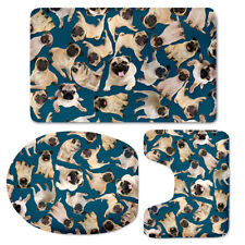 Pug Pattern Toilet Seat Lid Cover Fashion Water Absorbent Shower Floor Carpet