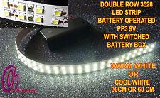 Doble fila 3528 no Impermeable Con Pilas Tira De Led Con Caja De Conmutación Bat