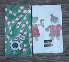 CHRISTMAS PAPER TABLE COVERS AMSCAN CONTEMPO CANDY CANES and SANTA BEARS VINTAGE