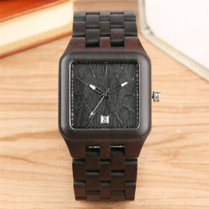 Handmade Wooden Watch Men's Quartz Wrist Watch Bamboo Bracelet Strap Luxury