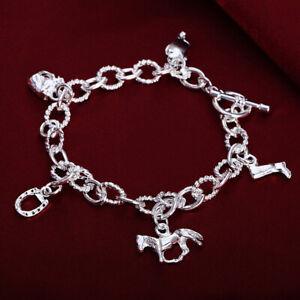 Hot 925 sterling Silver fine charm Horseshoe Farm Bracelet women fashion jewelry