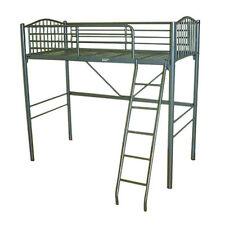 NEW 3ft Single Silver Metal High Sleeper Loft Bunk Metal Mesh Base Wooden Ladder