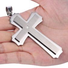 MENDINO Heavy Men's Stainless Steel Pendant Necklace Cross Cubic Zirconia Silver