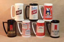 "Lot of 7 Thermo Serv Beer Stein Mugs ~ Budweiser Schlitz & Michelob ~ 6.5"" Tall"