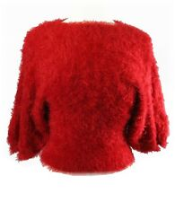 Red Furry Eyelash Dolman Batwing Stretch Sweater top one size