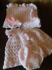 handmade crochet baby blanket set,girls,sweater,cap,diaper,cover.Made to order..