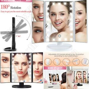24 LED Foldable Illuminated Touch Screen Shaving Cosmetic Vanity Make Up Mirror