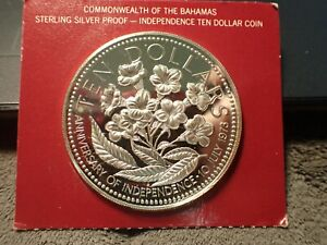 1977 $10. Sterling Silver Proof Bahamas Coin in Original Holder