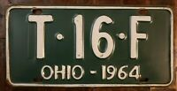 1964 OHIO License Plate T - 16 - F.  Original Paint.  Fast Free Shipping