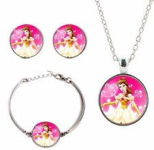 Necklace, Earring, Bracelet Set Princess Belle Glass Dome Pendant