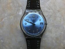 """Swatch Date Watch. 2003. """"Blue Choco"""" GM415. new battery fitted. Nr Minty"""