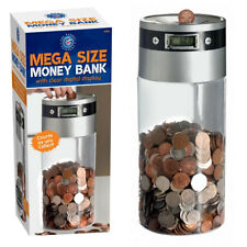 Large Saving Jar Money Bank Box UK Coins Pound Digital LCD Display Coin Counter