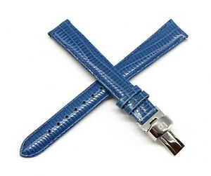 "Lucien Piccard 14MM Lizard Grain Genuine Leather Watch Strap 7.5"" BLUE Silver"