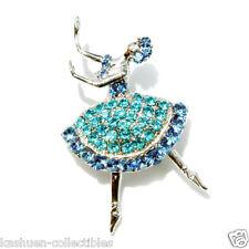 w Swarovski Crystal ~Aqua Blue BALLERINA  BALLET DANCER Brooch Jewelry Xmas Gift