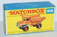 Matchbox Lesney No 28 Mack Dump Truck  Empty Repro E Style Box