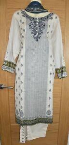 Zeen Lawn Cream Embroidery Dress Kurta Shalwar Kameez Churidaar Suit Bollywood