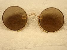 15K  SOLID GOLD CONTINENTAL ART DECO SUNGLASSES IN A SCANDANAVIAN LEATHER CASE!