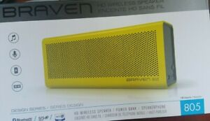 New, BRAVEN 805 Portable HD Wireless Bluetooth Speaker, Charger, Boombox, Yellow