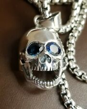 Skull Pendant, Sterling Silver, Hand Made, with 1.5 Carats of Dark Blue Eyes!!!