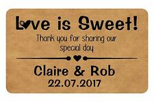 21  LOVE IS SWEET REAL KRAFT LABELS FOR WEDDING FAVOURS SWEET BAGS, BOXES
