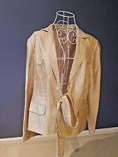 Queenspark Women Metallic Gold Jacket Coat Top Outwear Front Tie Size 14