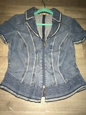 Shirt Top Bluse gr 38, M von Biba Farbe Blau Spitze