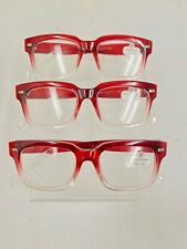 NEW 3 Pairs of Versona Red Clear Reading Glasses +2.00 Readers Designer 3 Pack