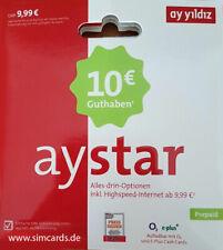 Ay Yildiz Aystar Prepaid SIM Karte mit 10 ? Guthaben NEU OVP   O2 Netz