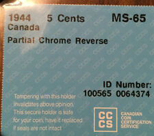 1944 CANADA 5 CENTS CCCS GEM MS-65 WITH PARTIAL CHROME ON REV