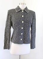 St John Collection Marie Gray Black Off White Fringey Tweed Knit Blazer Jacket 2