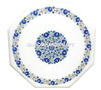 Marble Coffee Table Top Lapis Inlay Art Marquetry Garden Floral Decoration H1387
