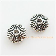 8Pcs Tibetan Silver Tone Flower Round Flat Spacer Beads Charms 9mm