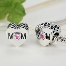 Stunning S925 Sterling Silver Mum Heart Charm With Pink Cubic Zirconia Stone