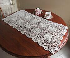 Cotton Hand Crochet Lace Doilies Mat Table Runner Topper Rectangle 48x100CM Ecru