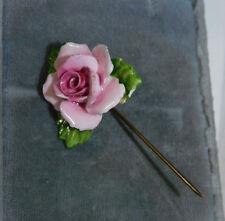 British Vintage Painted Bone China Stick Pin Pink Rose Flower Gold Brooch