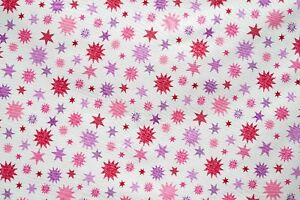 Pink Mauve Red Stars Cotton Quilt Fabric 100% Cotton 114cmW x 94cmL
