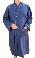 Mens Lightweight Polyester Cotton Dressing Gown Robe Navy Blue Big Size 3XL-8XL