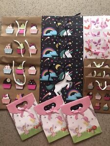 Gift Bags Bundle x 15 Party Bags Pack Unicorns Cupcakes And Fairies Birthday
