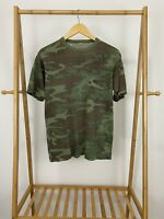 VTG 80s Camouflage Military Thin Thrashed Distressed Thin Pocket T-Shirt L USA