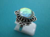 925 Sterling Silver Ring With Mystic Rainbow Topaz Size Q 1/2, US 8.25  (rg2048)