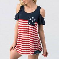 Women Short Sleeve T Shirt Cold Shoulder American Flag Printed Tops Blouse Shirt