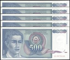 TWN - YUGOSLAVIA 106 - 500 D. 1/3/1990 UNC AS Dealers x 5