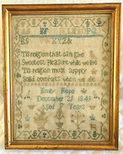 1849 English Sampler by Emily Hope Age 7 w Prayer Birds Cats & Flowers Antique