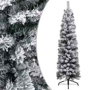 Slim Artificial Christmas Tree with Flocked Snow Green 120 cm PVC