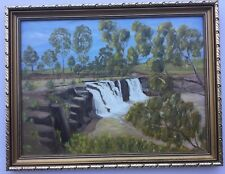 Framed Oil Painting Of A Waterfall