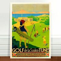 "Vintage Golfing Travel Poster Art ~ CANVAS PRINT 24x18"" ~ Golf Tunis"